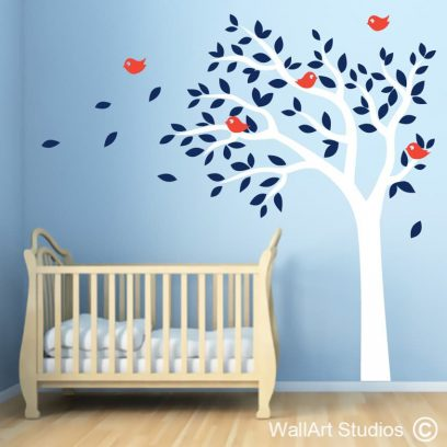 Birdy tree, boys wall art stickers, nursery wall art, birds, tree, decals
