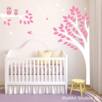 Whoo Hoo Forest, owls, butterflies, nursery wall art stickers, girls wall art stickers, boys nursery wall art stickers