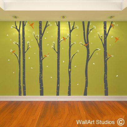 Birch Forest, birch trees, forest, birch, trees, wall art, stickers, nursery, home decor, office wall decor, wall murals, nursery, home decor, office wall decor, wall murals