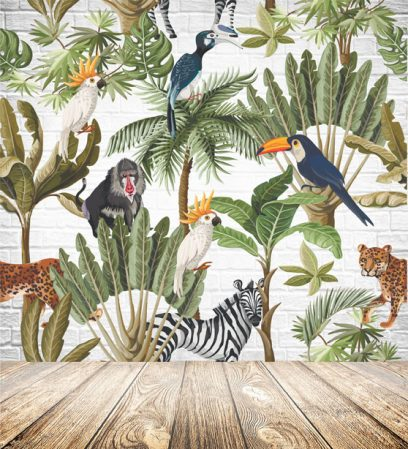 Exotic animal and plant wallpaper
