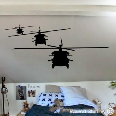 3 helicopters, boys wall art, helicopters, planes, trains