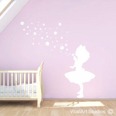 little bubble girl, wall art sticker, girl blowing bubbles vinyl wall art, decorative wall art decals, v
