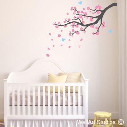 Blossom Branch, blowing blossoms, falling flowers, butterflies, girls room decor, girls wall art, stickers, decals, wall tatoos, tatoos, walls, vinyl, nursery decor