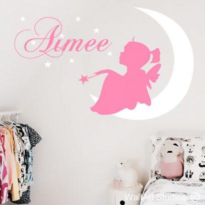 Fairy Moon, girls, wall art, stickers, vinyl, fairy, moon, girls room decor, wall decals