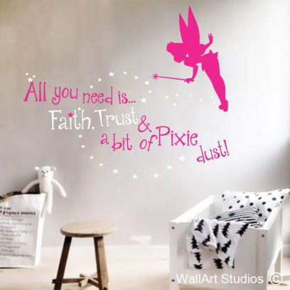 pixie dust, peter pan, tinkerbell,never never land, pixie wall art stickers