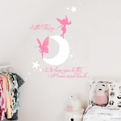 Moon Back, love you to the moon and back, home decor, girls room decor, wall decals, fairy, moon