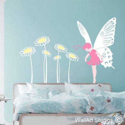 Butterfly Fairy, fairy wallart, butterfly wall art, butterfly stickers, fairy stickers,wallart studios, girls room decor, fairy wall decals