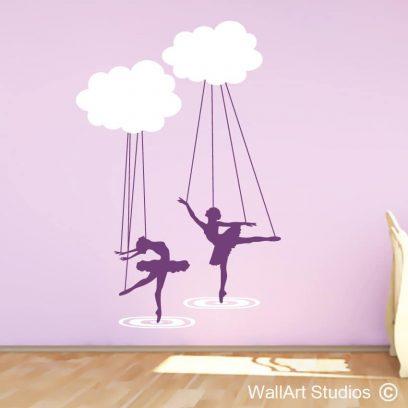 Ballerina Cloud Puppets, wall art stickers, ballerina wall art stickers for girls, ballerina, clouds stickers, ballerina decals, ballet wall decals
