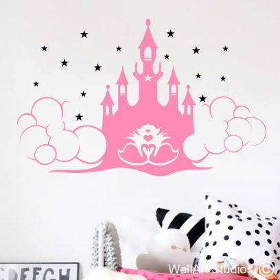 Fairy castle wall art stickers, fairy decals for girls, castle decals for girls, castle stickers for girls, enchanted castle, girls room decor, fantasy, wall decals, stickers, vinyl