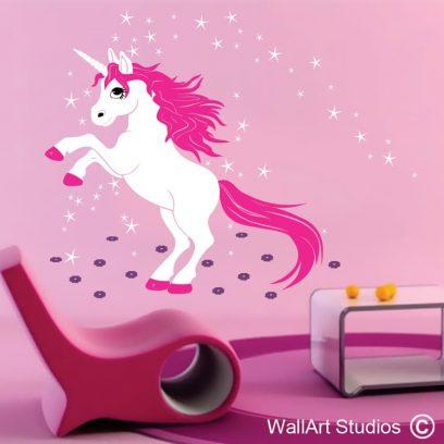 Enchanted Unicorn, wall art stickers, unicorn, wall art decals, girls wallart, enchanted wall art, fantastick wall art stickers, unicorn wall decal, unicorns