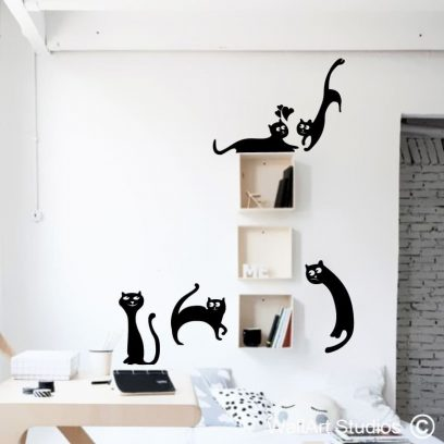 Krazy Cats, krazy cats wall stickers, crazy cats wall stickers, cat wall art, wierd cats wall vinyl, funny cats wall stickers, decorative cats wall stickers