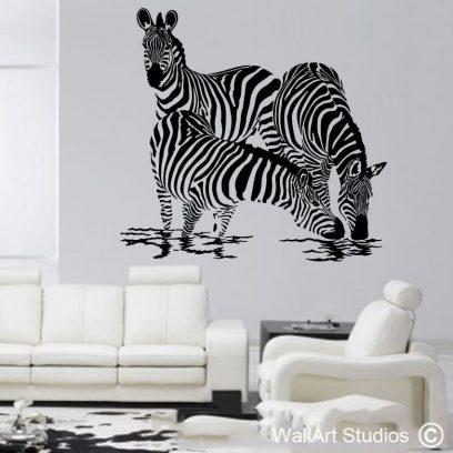 zebras at waterhole wall art stickers, zebra wall art, zebra stickers, zebra wall vinyls, zebra wall paper, africa, animals, decal, decals, sticker, stickers, art