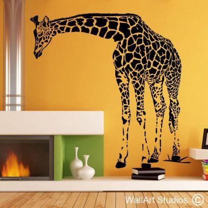 giraffe wall art stickers, giraffe wall decals, guesthouse wall art