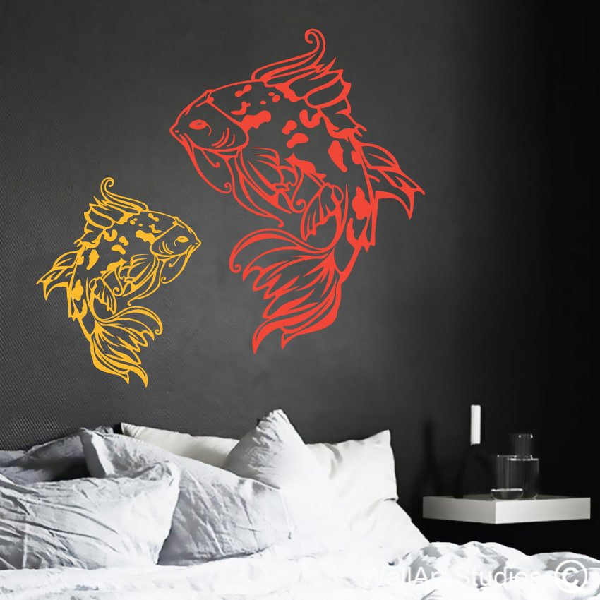 Koi fish vinyls wall art design for you by wall art studios for Koi carp wall art