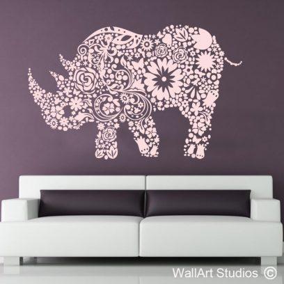 Floral rhino wall art sticker, rhino decals, floral stickers wall art,