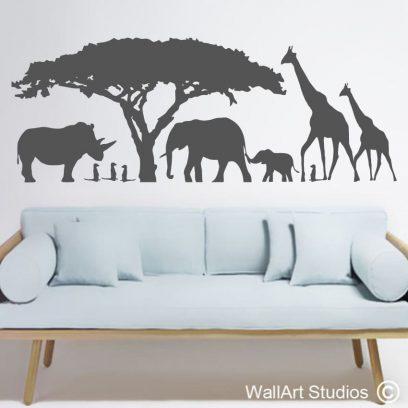 African Wall Art Sticker, African Wall Art Stickers, lion, giraffe, rhino, meerkats, acacia, baobab, safari