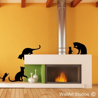 Cats wall art vinyls, kittens, decal, decals, sticker, stickers, cat, pets, animals