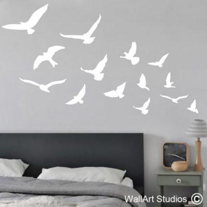 Flock of Birds, wall decals, vinyl stickers, custom, murals, decor, interior decorating, wall tattoos
