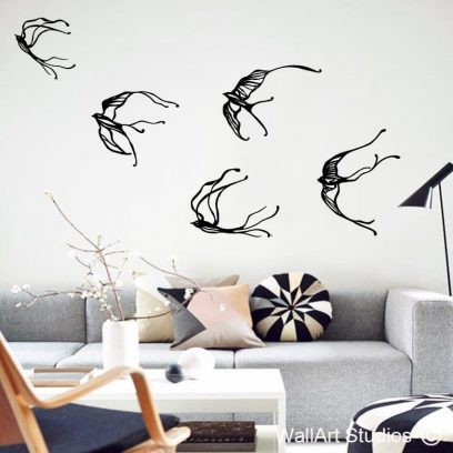 whimsical swallows wall art decal , bird wall art stickers , swallows wall art sticker