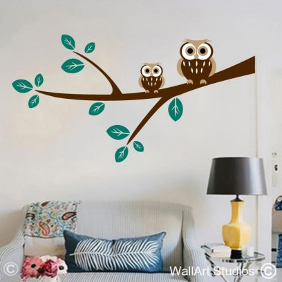 owls on a branch stickers, owl wall art, branches wall art stickers
