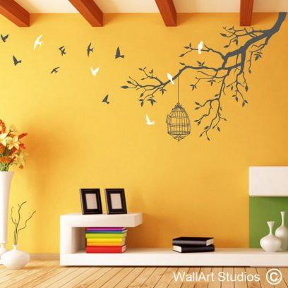Freedom Branch, wall art decal, birds flying, trees, birds,cage, nature, home decor, sandblast