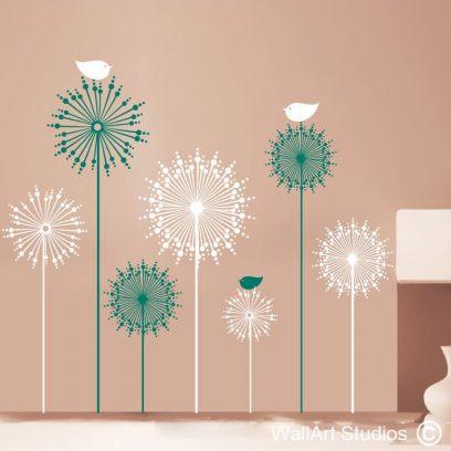 Dandelion Birdy's, dandelions, birds, decals, home decor, vinyl, stickers, custom wall art
