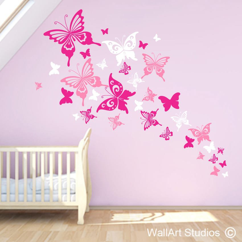 Beautiful Butterflies Wall Art Decals | Vinyl Stickers | Wall Art Studios  sc 1 st  Wall Art Studios : pink butterfly wall art - www.pureclipart.com