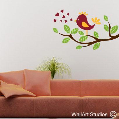 Little Love Bird, wall stickers, vinyl decals, nature birds,wall art, decor, design custom