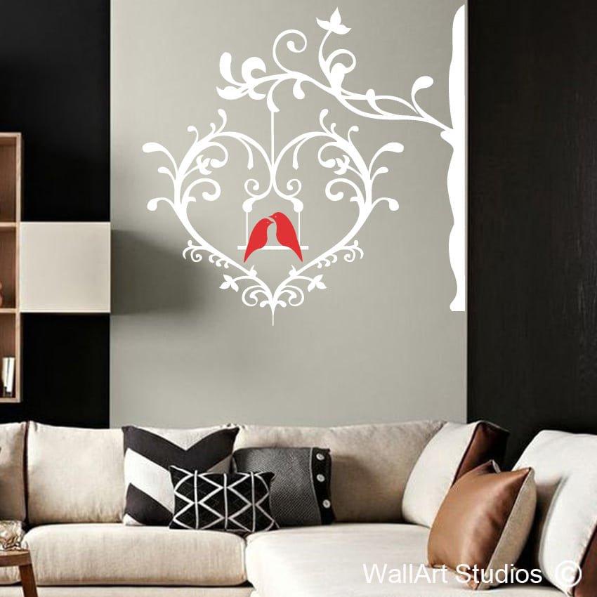 Deco heart with love birds wallart studios - Heart wall decoration ...