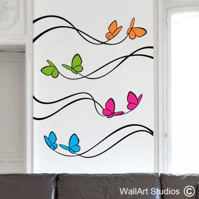 Butterfly Streamers, vinyl stickers, wall art, wall tattoos, butterflies, dainty, home decor, gift ideas, removable