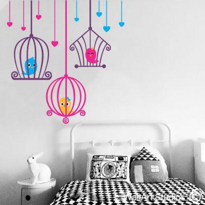 Love Bird Cages, vinyl stickers, wall decals, wall tattoos, nursery, home decor, hearts, cute,little, adorable, fun, custom