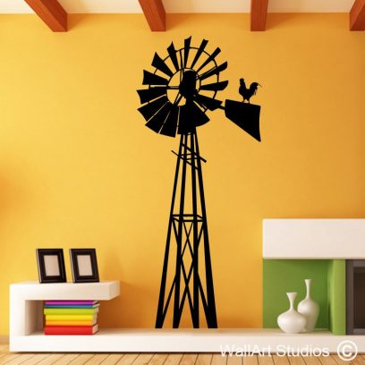 Windmill with rooster, windpomp, rooster, wall decal, mural, wall paper, sticker