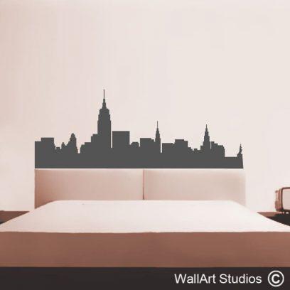 New York skyline decal, vinyl wall art, stickers, home decor, interior design, bedroom ideas,modern wall art