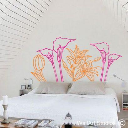 Lilies, arum lillys, St Joseph lillies, vinyl decal, flower stickers, custom floral, home decor, interior design,headbaords,bedroom ideas