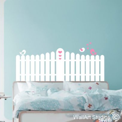 Picket Fence, headbaord, vinyl, decal, removable, girls bedroom