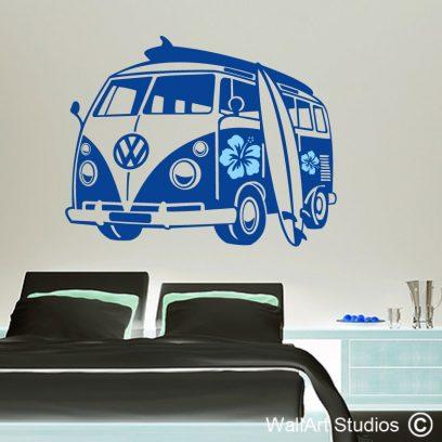 Surfer Kombi decal, hibiscus wall sticker, surfer, kombi, combi, van, volkswagen, vw, home decor, teen wall art