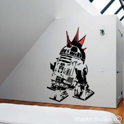 Retro R2D2, star wars, r2d2, darth vader, retro, decal, sticker, wall art, custom, jar jar binks