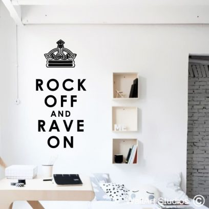 Rock On rave off wall art sticker, rock on wall decal, rock wall decor, funky wall stickers, fun wall decals
