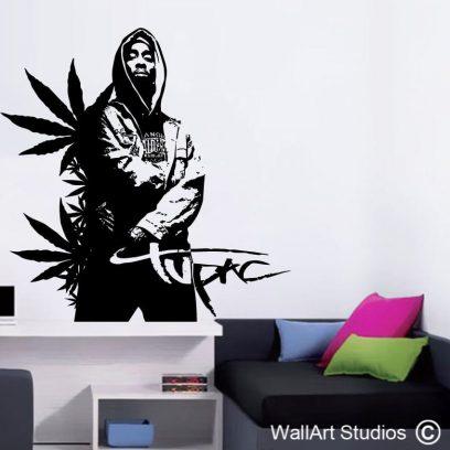 Tupac decal, rapper, hip hop, wall art, custom wall designs