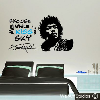 Jimi Hendrix decal, Jim Morrison, wall art stickers, Custom wall designs, kiss, sky, love, sixties, purple haze, home decor