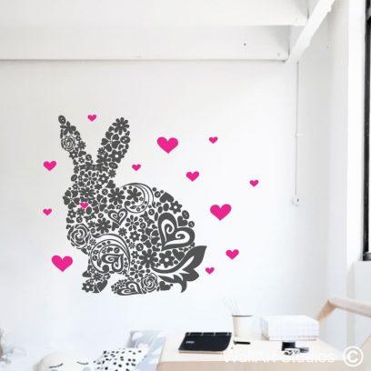 Flower Bunny wallart stickers,