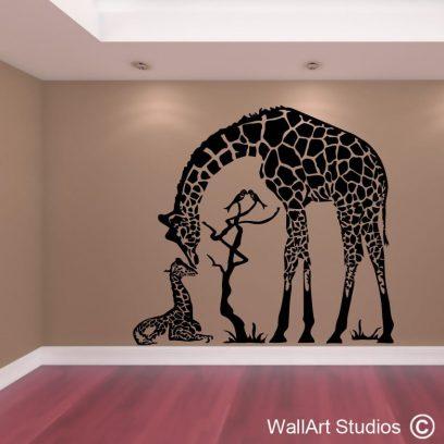 Giraffe Love, big 5, wall art, wall decals, stickers, zebra, lion, buffalo