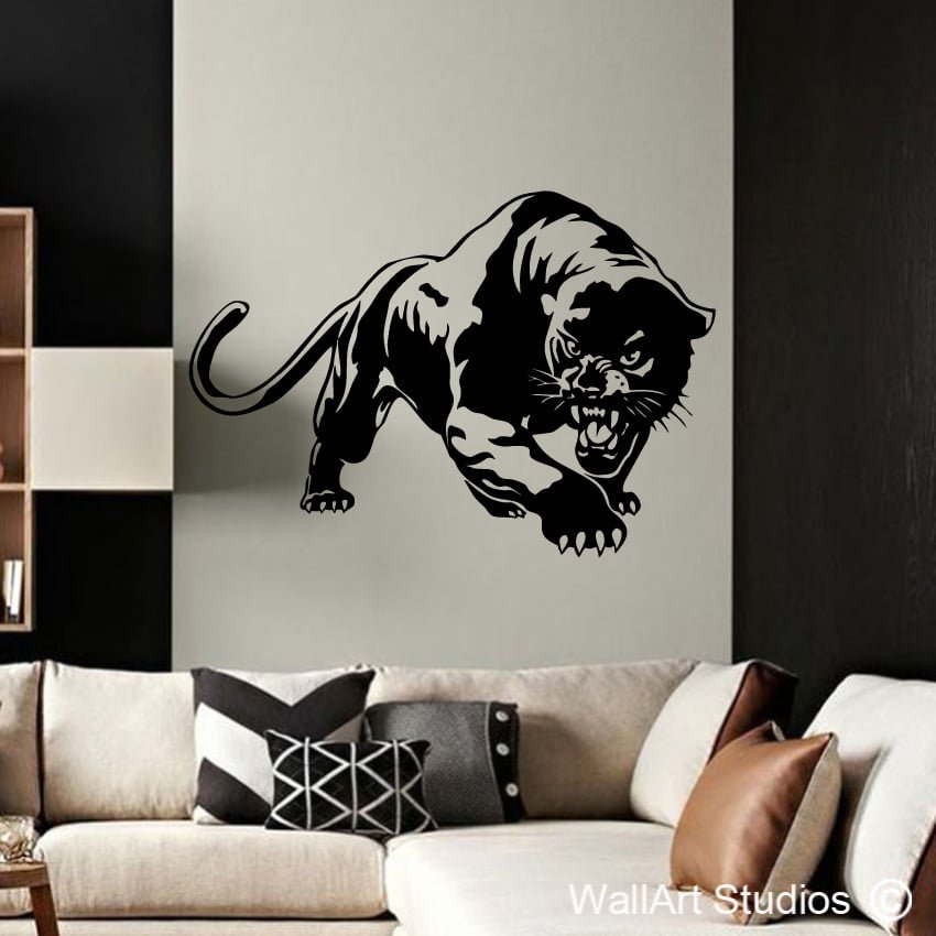 Panther wall decal animals wall stickers online wall for Black panther mural
