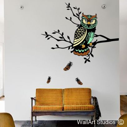 Wise Old Owl wall sticker, owl wall decal, owl wall art