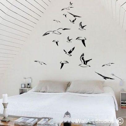 Flock of Seagulls wall art sticker, seagulls wall decal