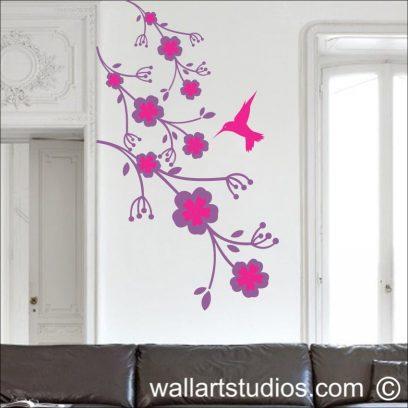Humming Bird Flowers,wall decla, modern wall art, home decor, humming birds, floral, interior design, wall murals