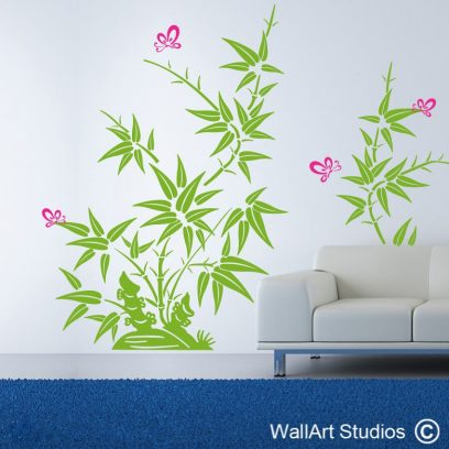 Bamboo Butterflies decal, bamboo design, buttterfly, wall stickers, home decor, sandblasted vinyl, interior design