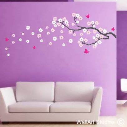 Butterfly Blossoms decal, wall art vinyl, wall murals, butterflies, blossoms, floral wall art, custom designs, home decor interior design, wall features, flowers, bugs