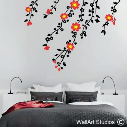Wall Flowers, wall mural, wall sticker, vinyl decal, home decor, floral wall art, interior design, custom wall art, custom quotes