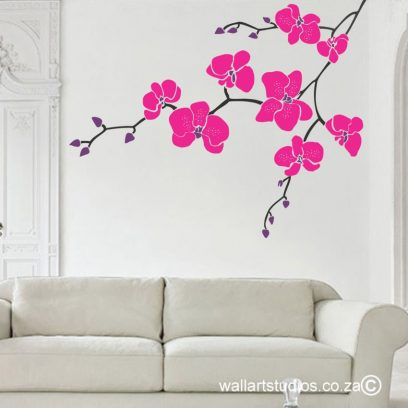 Orchid Branch decal, orchids, branches, stickers, removable vinyl murals, home decor, interior design, modern wall art, floral wall designs